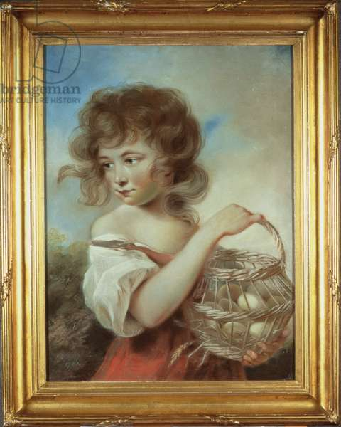 The Girl with a Basket of Eggs, c.1780 (pastel)