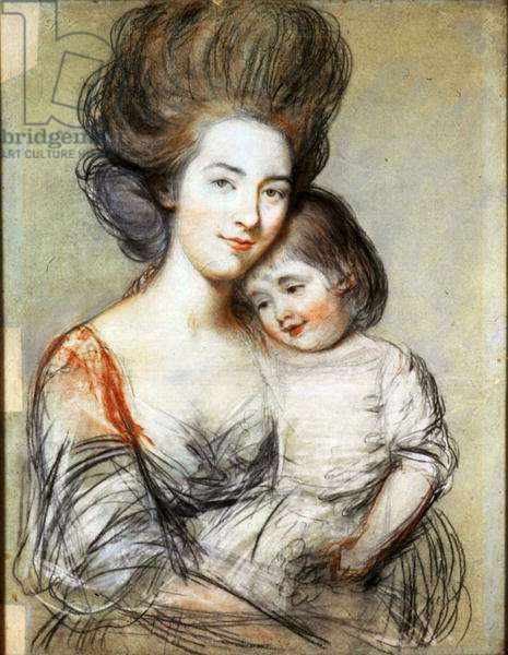 Mrs Russell and Child (pastel and pencil on paper)