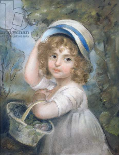 Girl with a Basket of Flowers (pastel)