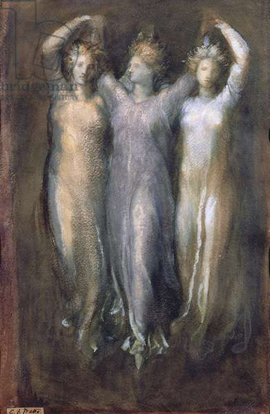 Classical Study with Three Female Forms (pastel on paper)