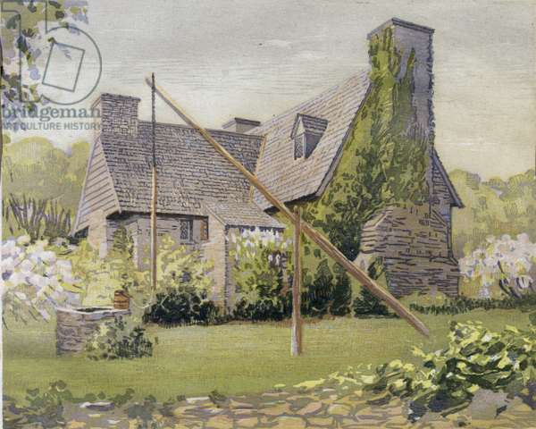 The Henry Whitfield House, Guilford, USA (colour litho)