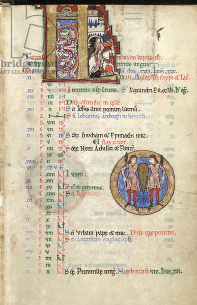 MS Hunter 229 f.3r May, from the Hunterian Psalter, c.1170 (pen & ink, and tempera on vellum)