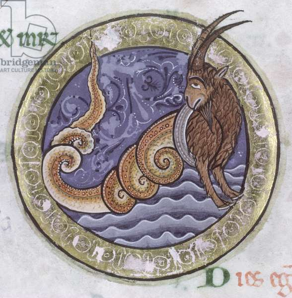 Ms Hunter 229 f.6v Capricorn, from the Hunterian Psalter, c.1170 (pen & ink and tempera on vellum) (detail)