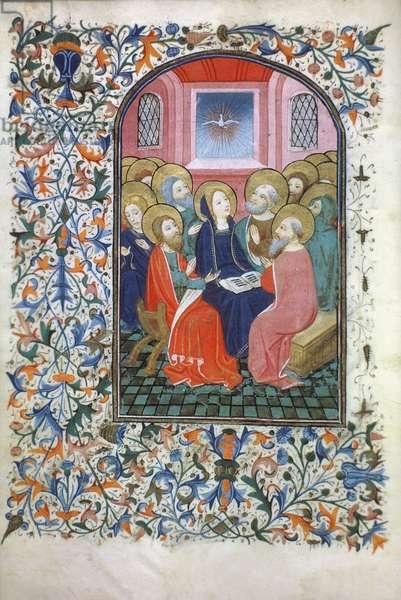 Ms Gen 288 f.23v Pentecost, c.1460 (vellum)