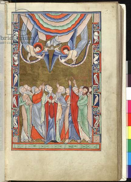 Ms Hunter 229 f.14r The Ascension, from the Hunterian Psalter, c.1170 (pen & ink and tempera on vellum)