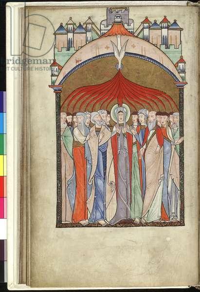 Ms Hunter 229 f.15v Pentecost, from the Hunterian Psalter, c.1170 (pen & ink and tempera on vellum)