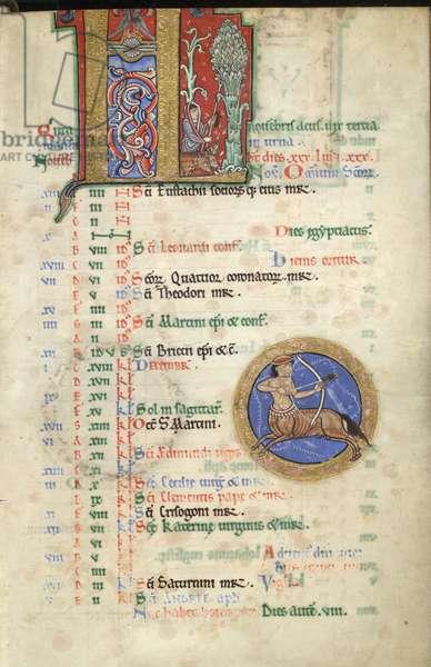 MS Hunter 229 f.6r November, from the Hunterian Psalter, c.1170 (pen & ink, and tempera on vellum)