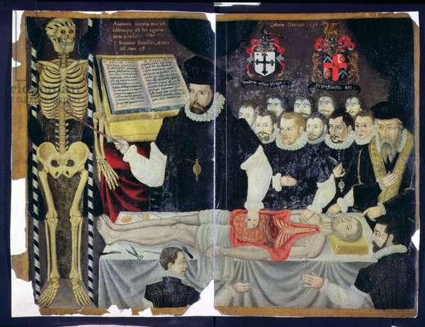 Hunter 364 Top V14 f.59 John Bannister Delivering an Anatomy Lesson (vellum)