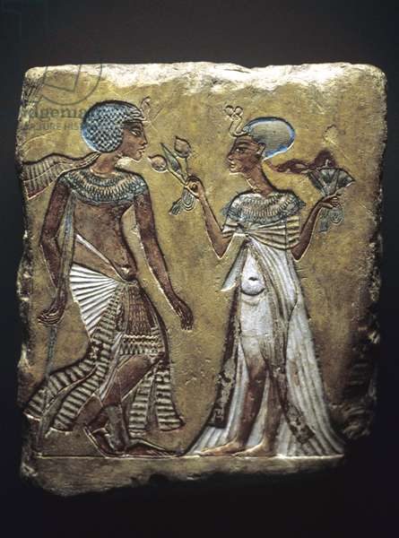 'Stroll in the Garden', relief depicting Tutankhamun and his wife, Ankhesenamun, New Kingdom, c.1330 BC (painted limestone)