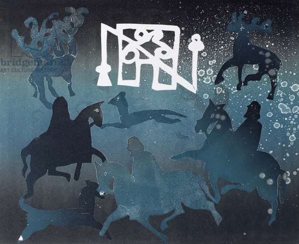 Pictish Hunting Scene I, 1995 (monotype)