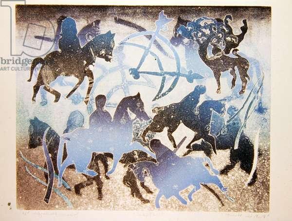 Celtic Horseman with Symbols, 1995 (monotype)