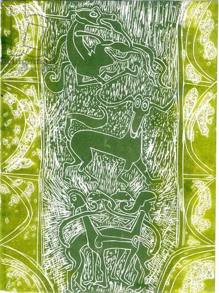 Monsters of Aberlamno (woodcut)