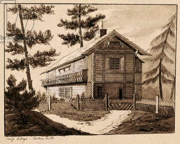 Swiss Cottage, Gordon Castle (pen & ink and ink wash on paper)