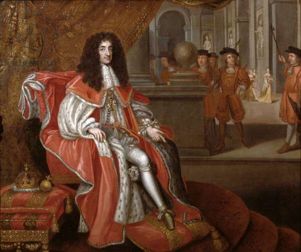 Charles II at Court (oil on canvas) (see also 271434)