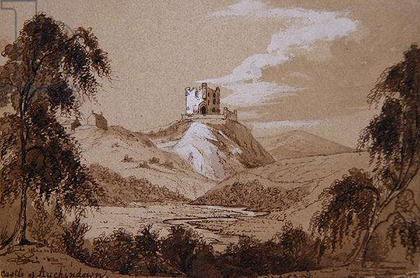 Castle at Auchindown (pen & ink and ink wash on paper)