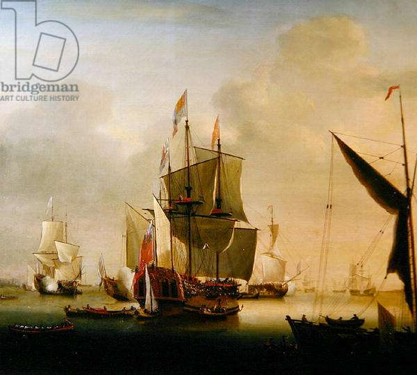 The Royal Caroline at Spithead (oil on canvas)