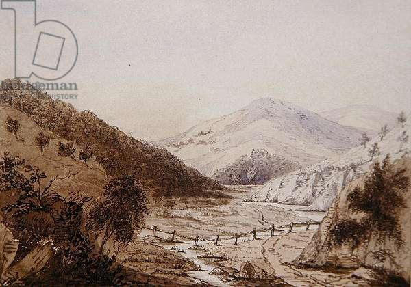 Scottish landscape (pen & ink and ink wash on paper)