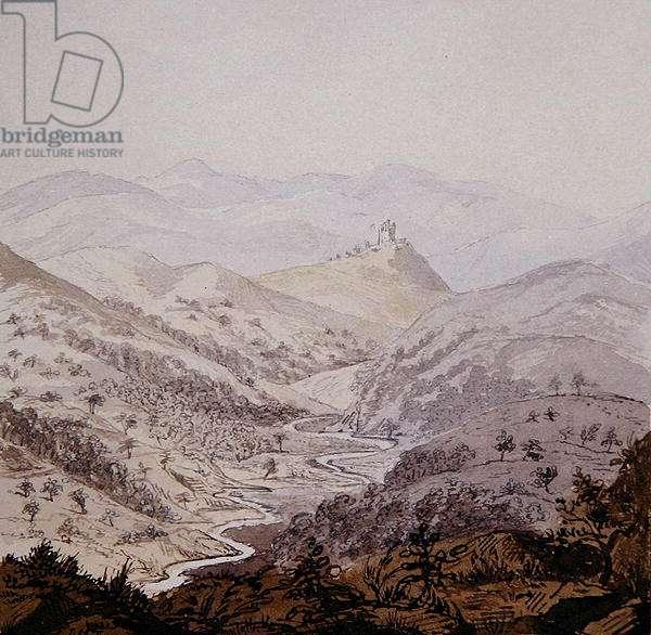 Scottish landscape (pen & ink with ink wash on paper)