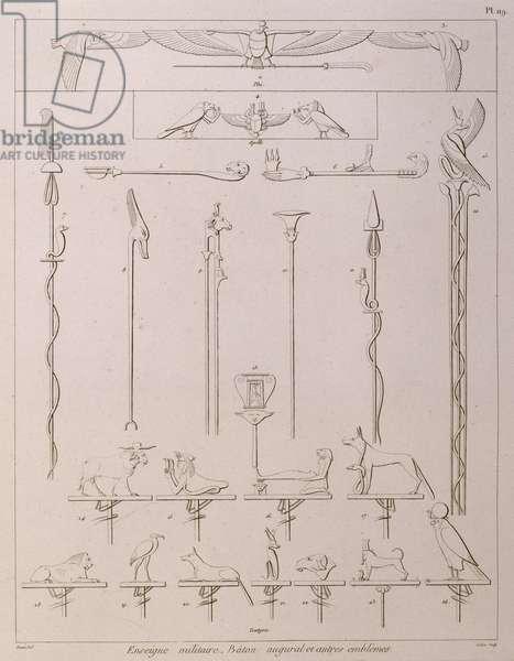 Page from 'Planches du Voyage dans la Basse at la Haute Egypte pendant les Campagnes de  Bonaparte', printed by Vivant Denon, 1802 (lithograph)