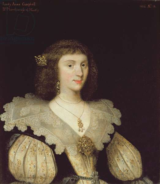 Lady Anne Campbell (1594-1638), 2nd Marchioness of Huntly, 1626 (oil on canvas) (for pair see 266107)