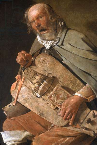 """""""The Player of Vielle"""" (detail) (The Old man in the hat or The Old man has the fly) around 1625"""
