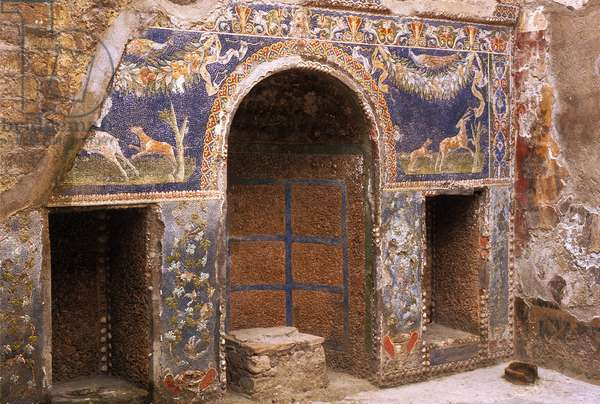 Italy: Archaeological site of Pompei at the foot of the Vesuve: Mosaic