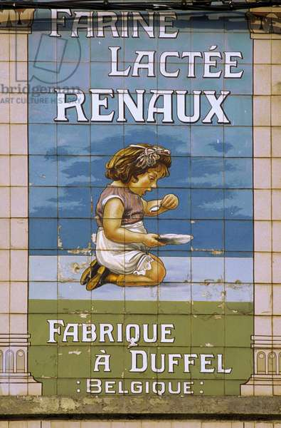 Belgium N* 048: Detail architecture: Advertising made in ceramic tiles: in the city of Binche