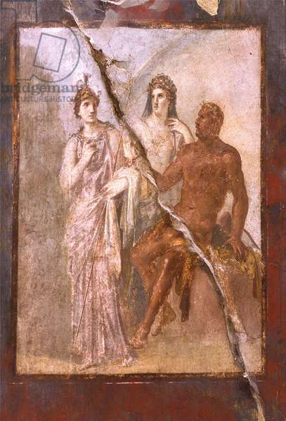 Italy: Archaeological Site of Pompei at the foot of the Vesuve: Fresco