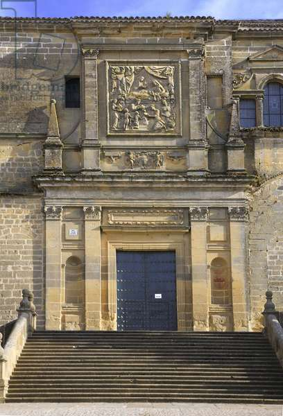 Spain - Andalusia - city of Baeza - entrance to the cathedral - porch and pediment