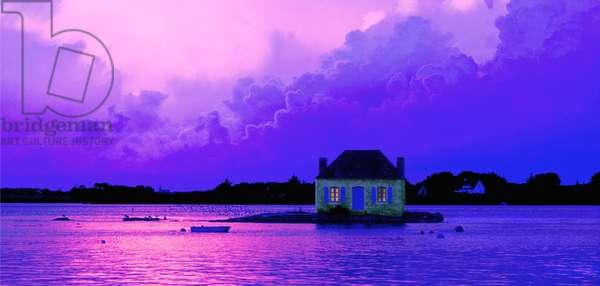 Brittany - Morbihan - department 56 - La Ria d'Etel - island of St-Cado at dawn