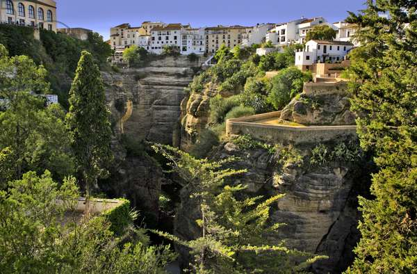 Spain - Andalusia - city of Ronda divided in two by the gorges of the Rio Guadalevin