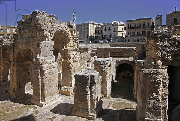 Italy: Roman amphitheatre of the 2nd century in the city of Lecce: piazza Sant'Oronzo