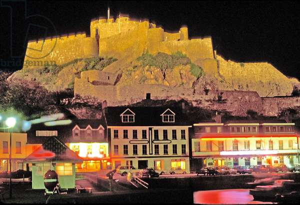 Anglo - Norman Islands: Jersey: Mont Orgueil Castle Overlooks Gorey Harbour: Night View