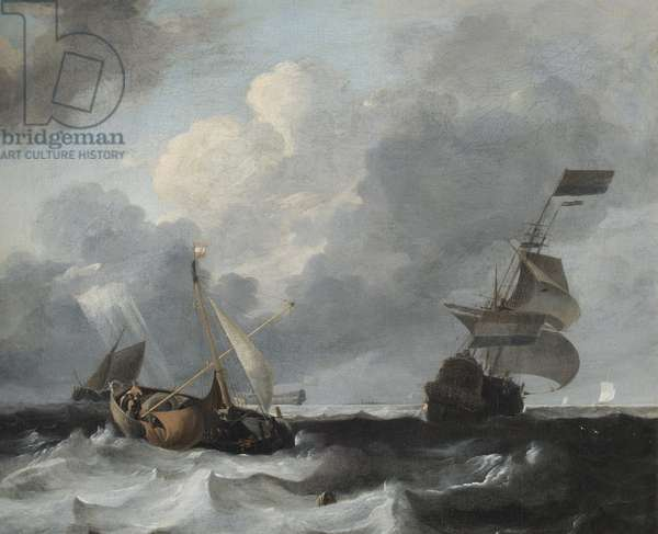A Storm off the Coast with Men o' War and Fishing Boats (oil on canvas)