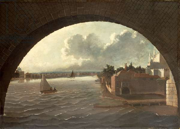 The Thames at Westminster seen through the arch of a bridge