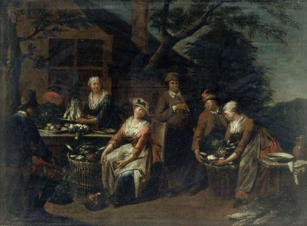 A Group of Peasants, Vegetables and Fruit (oil on canvas)