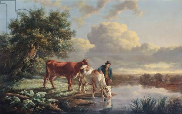 Cattle Drinking at the River Edge (oil on canvas)