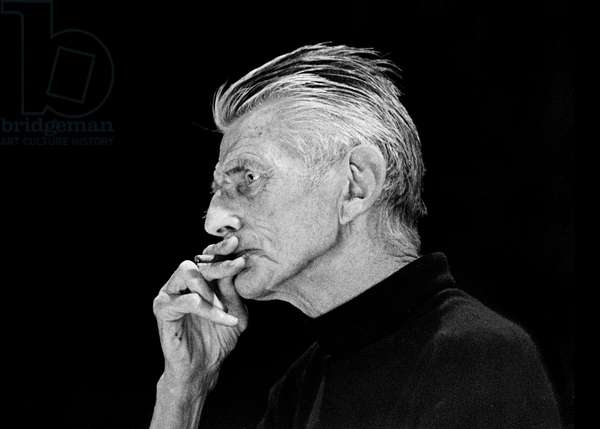 Samuel Beckett at the Royal Court Theatre, London in May 1979 (b/w photo)