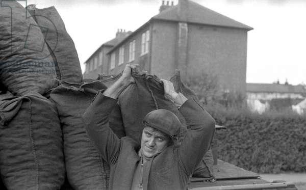Coalman, Lupset Estate, Wakefield, 1972 (b/w photo)