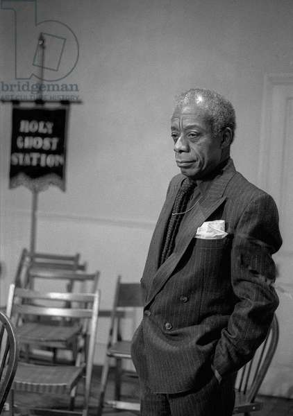 James Baldwin, Tricycle Theatre, London, 1987 (b/w photo)