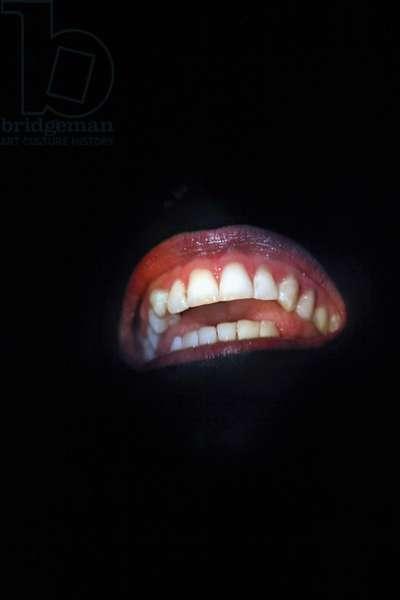 Samuel Beckett 's play 'Not I'. The mouth