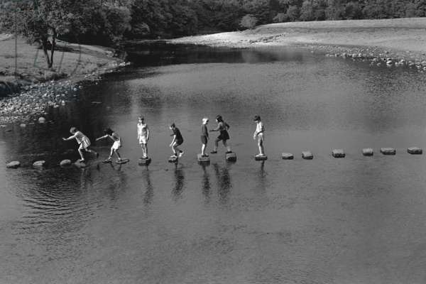 Crossing the wharf at Bolton Abbey, Wharfdale, 1972 (b/w photo)
