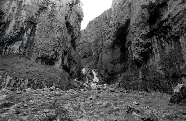 Gordale Scar near Malham, 1972 (b/w photo)