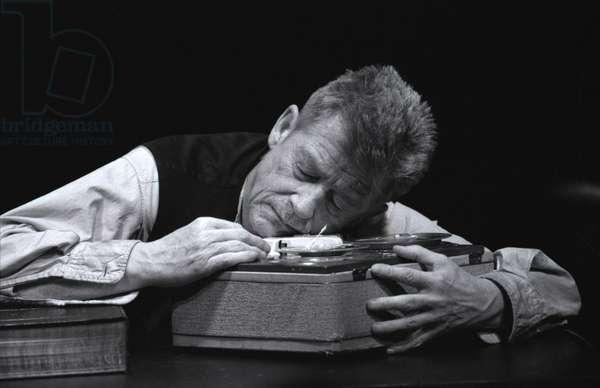 Krapp's Last Tape - scene from the play by Samuel Beckett (b/w photo)