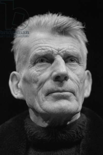 Samuel Beckett at the Royal Court Theatre, London in January 1973 (b/w photo)