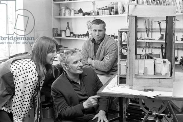 Jocelyn Herbert, Lindsay Anderson and David Storey (b/w photo)