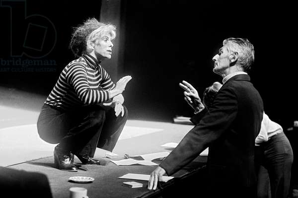 Samuel Beckett at the Royal Court Theatre with Billie Whitelaw, London in May 1979 (b/w photo)