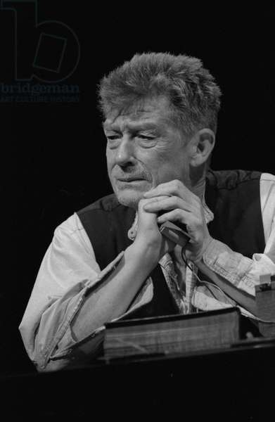 Krapp's Last Tape - scene from the play by Samuel Beckett (b/w photo)