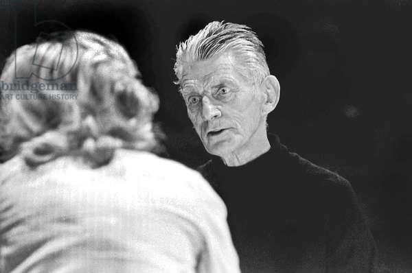 Samuel Beckett with Billie Whitelaw, Royal Court Theatre , London, 1979 (b/w photo)