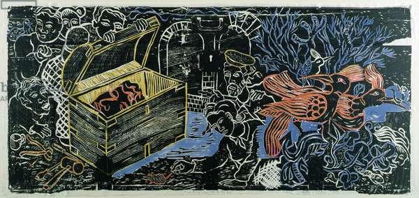 Presenting the Rat to the Box, 1987 (woodcut, w/c on paper)